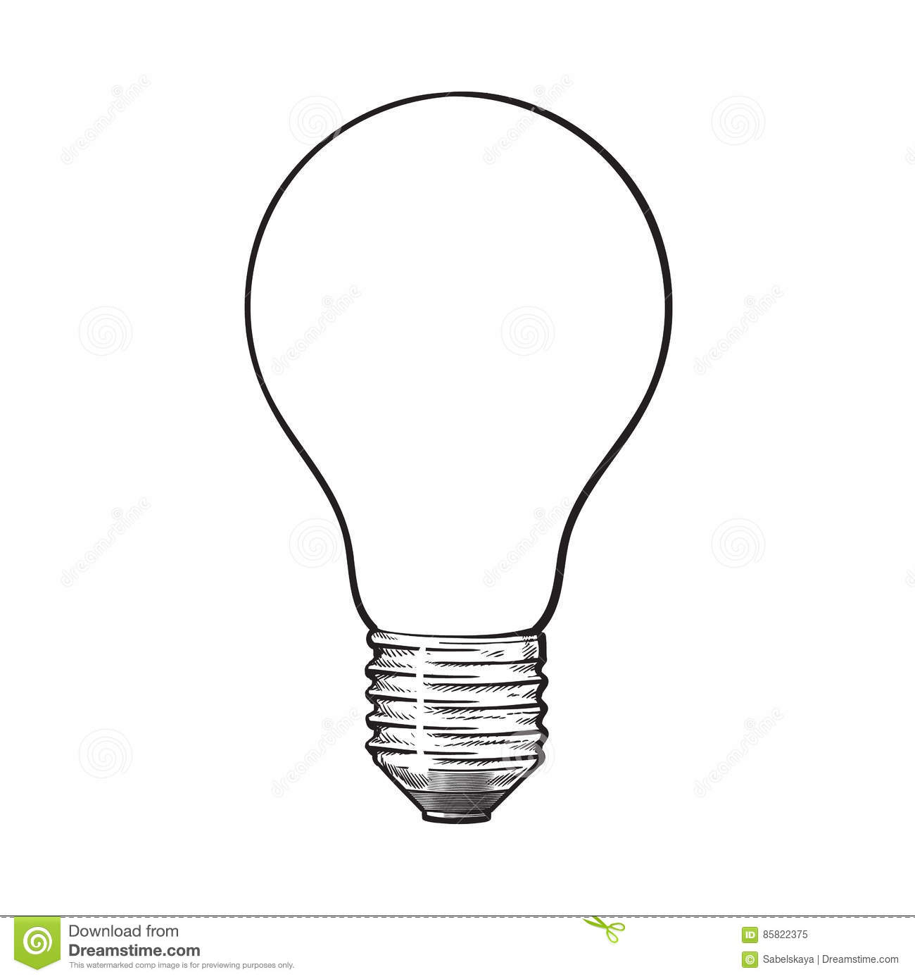 Matted Opaque Tungsten Light Bulb Side View Sketch