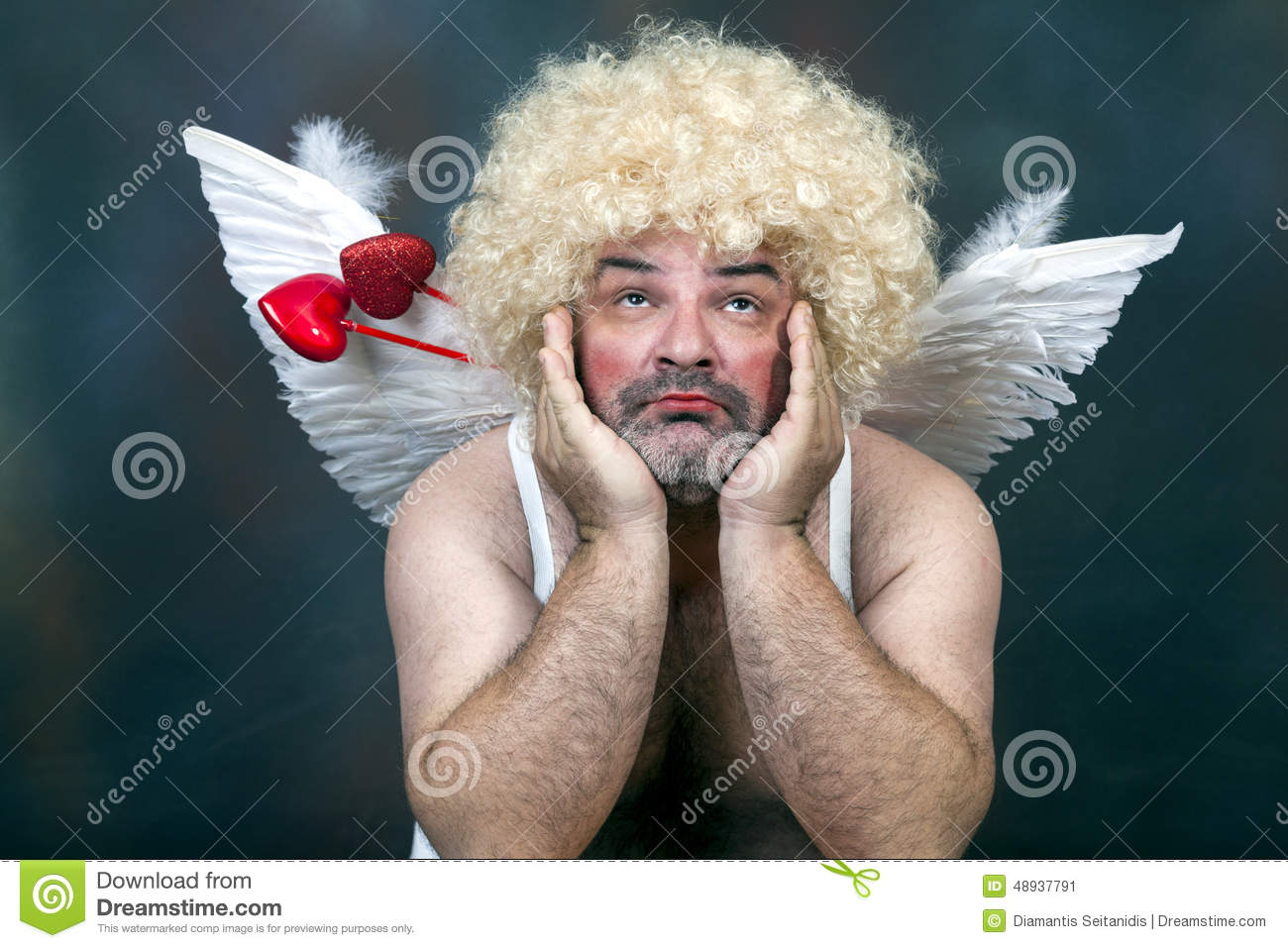 Fat Bearded Mature Hairy Cupid With Bow And Heart Arrow