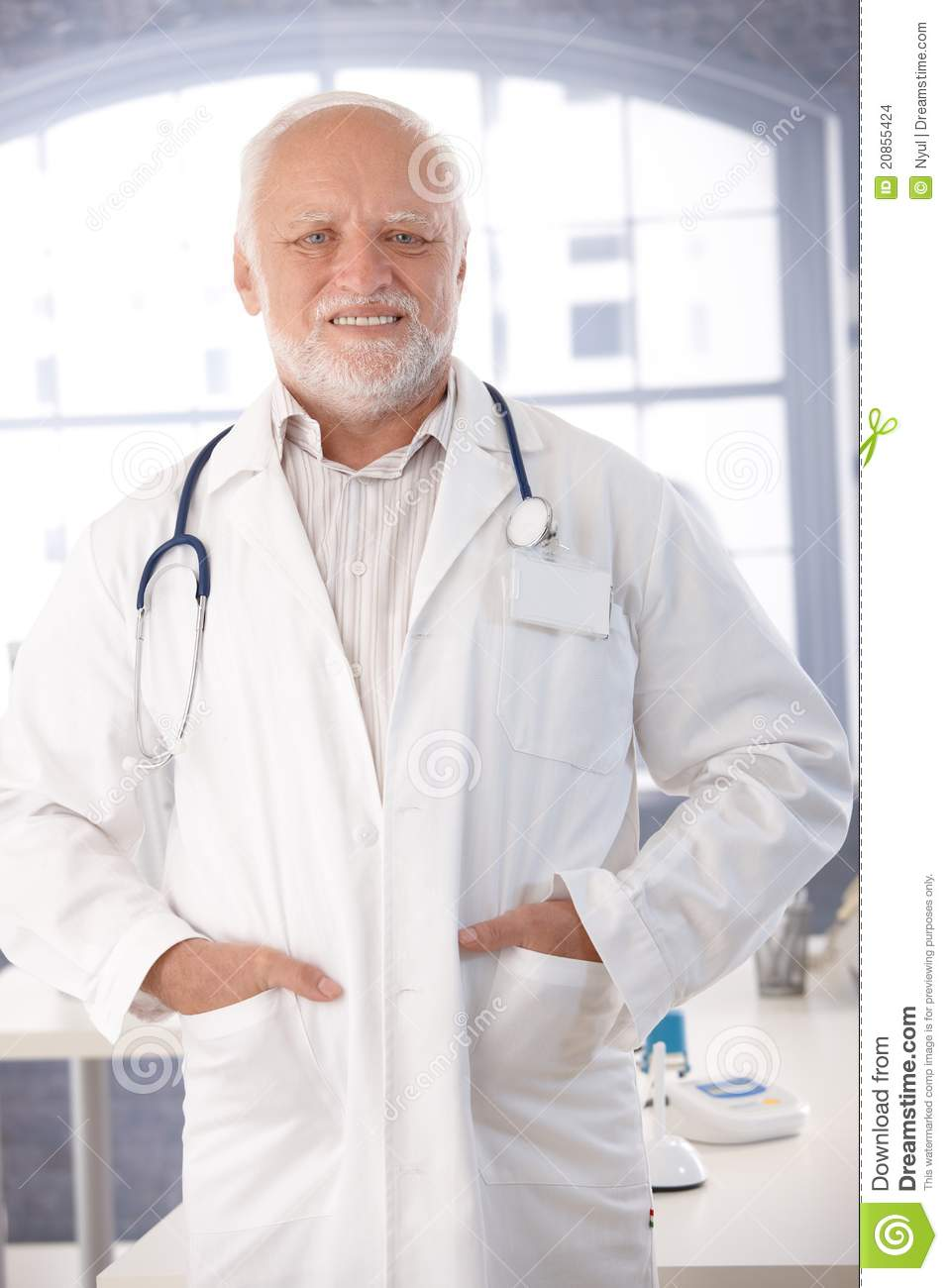 Mature Doctor Smiling In Lab Coat Stock Photo  Image of