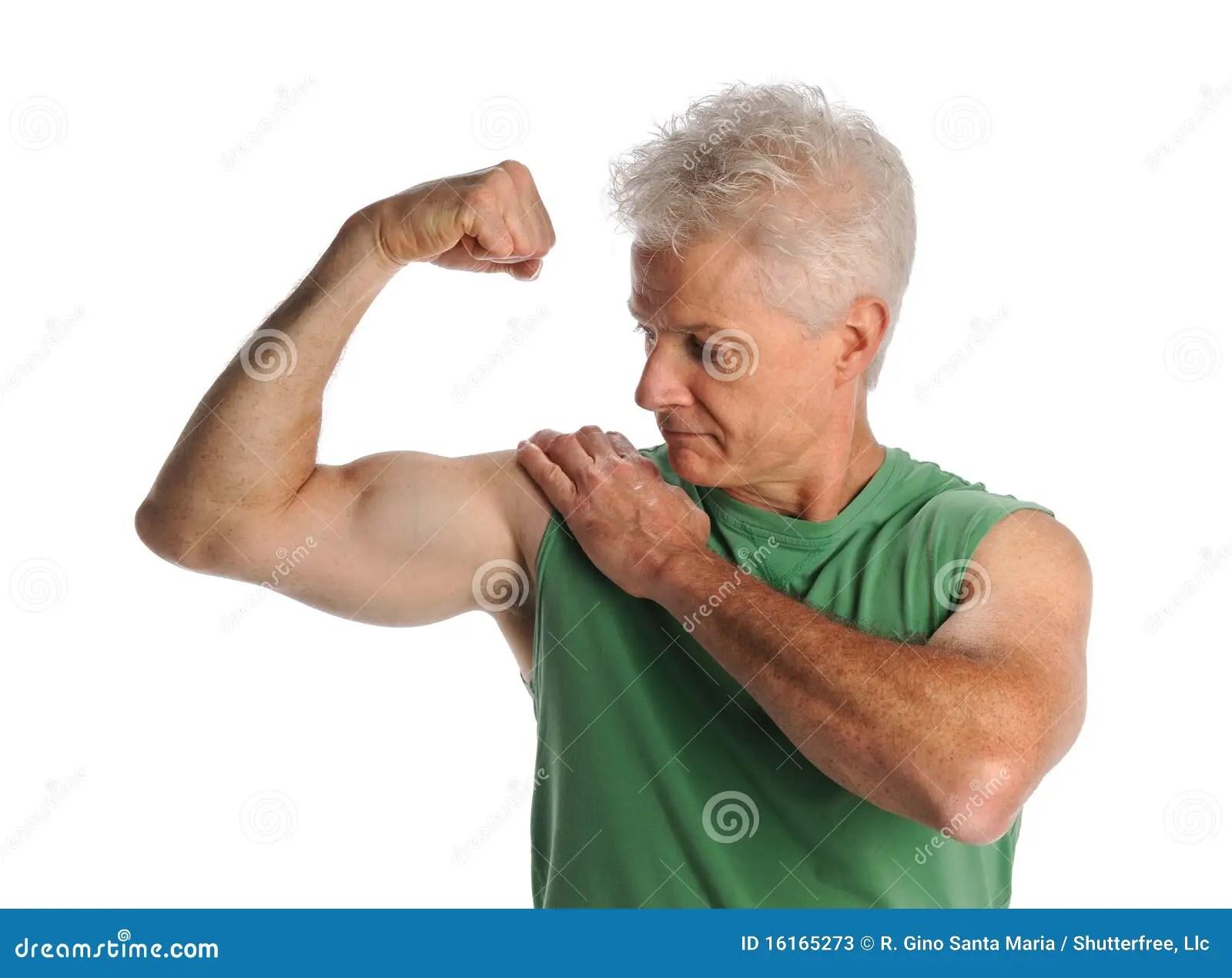 mature man flexing biceps