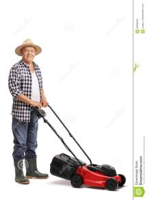Mature Man Posing With Red Lawn Mower Stock