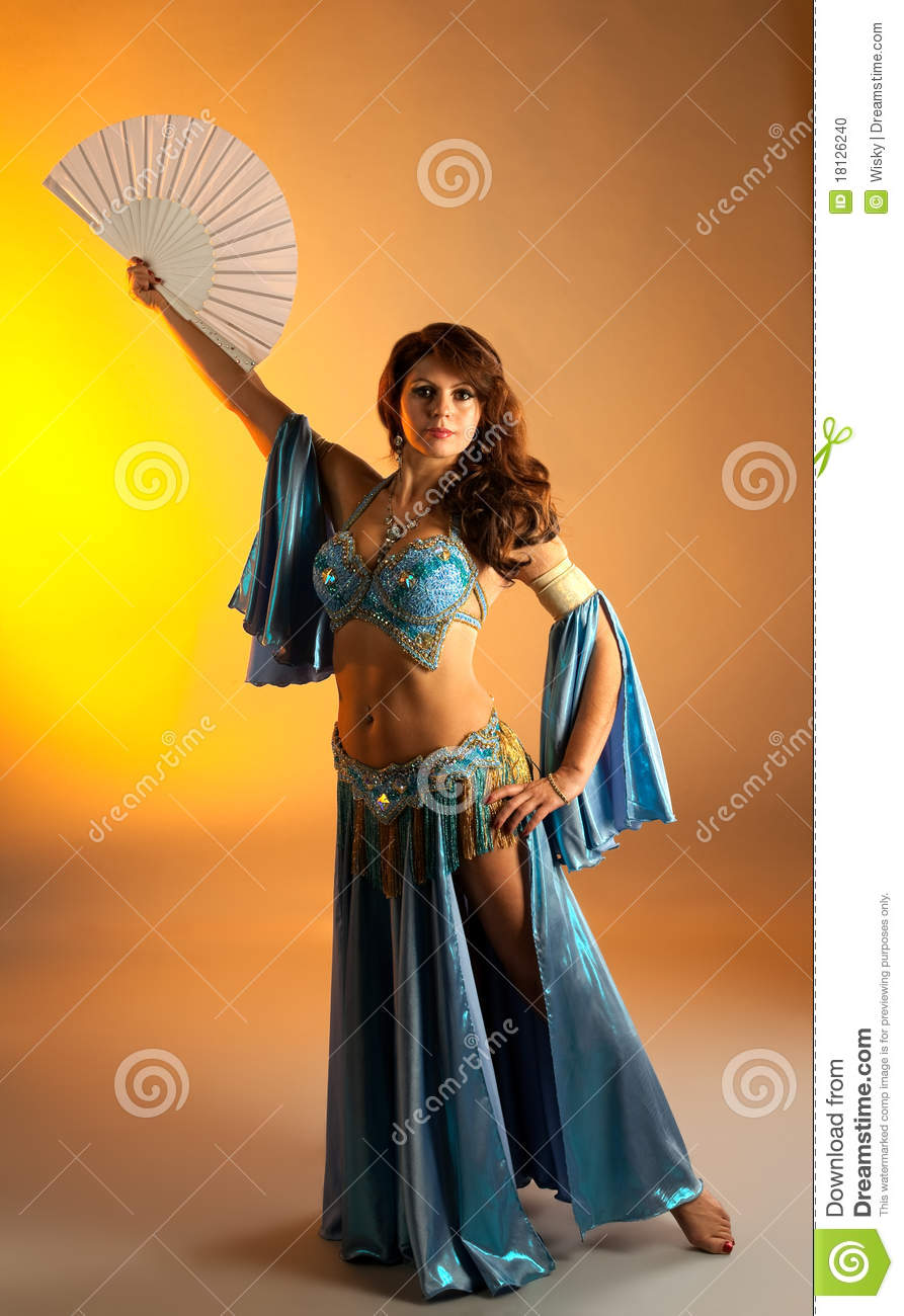 Mature Woman In Belly Dance With Fan Stock Photo  Image
