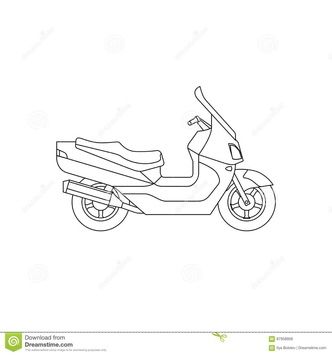 Maxi Scooter line drawing stock vector. Illustration of