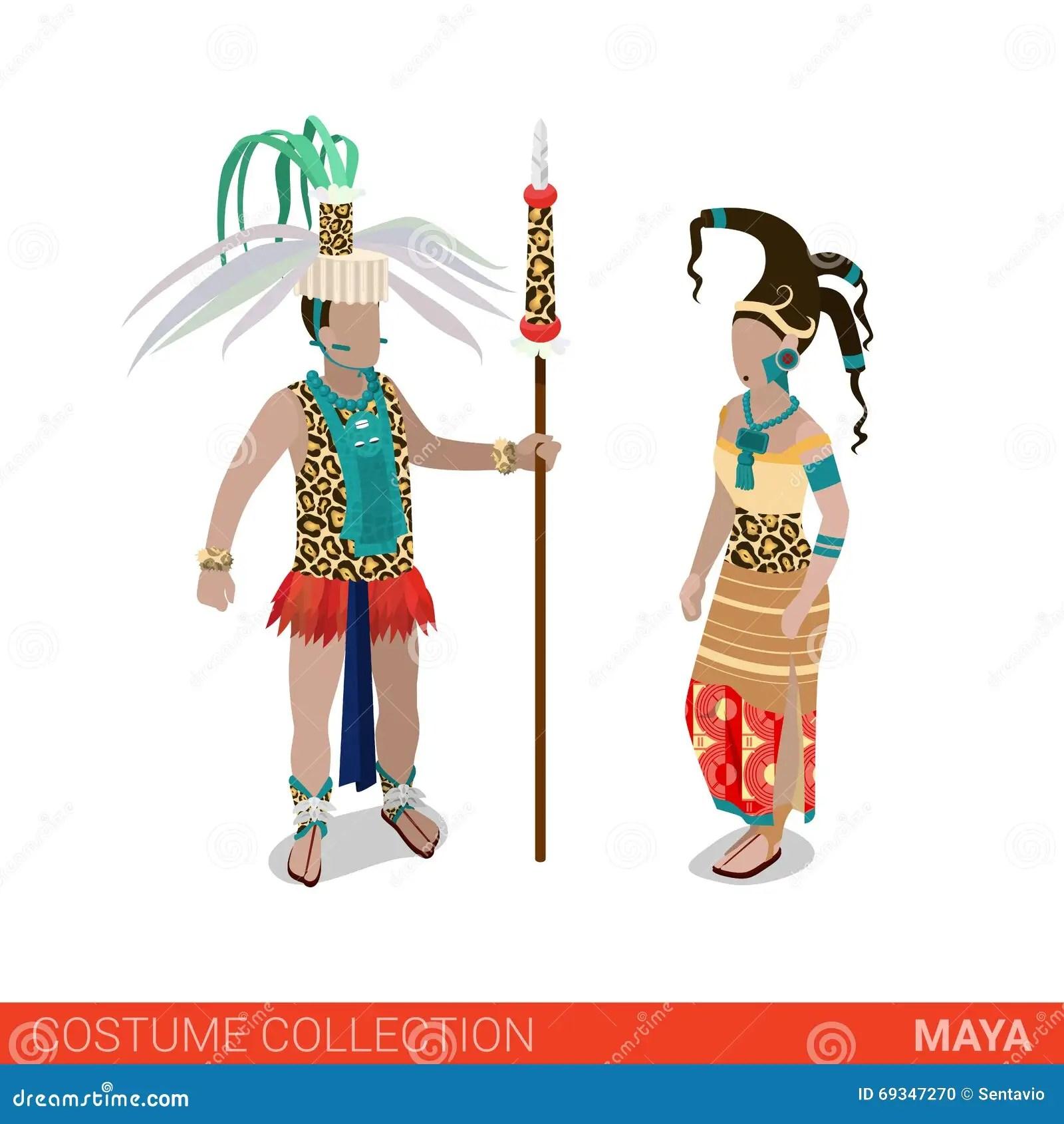 hight resolution of maya priest princess flat 3d isometric costume