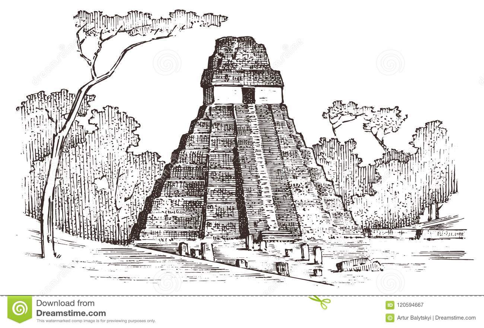 Maya Vintage Pyramid Aztec Culture Ancient Monochrome