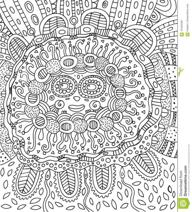 Mayan Face. Doodle Coloring Page for Adults with Maya. Stock