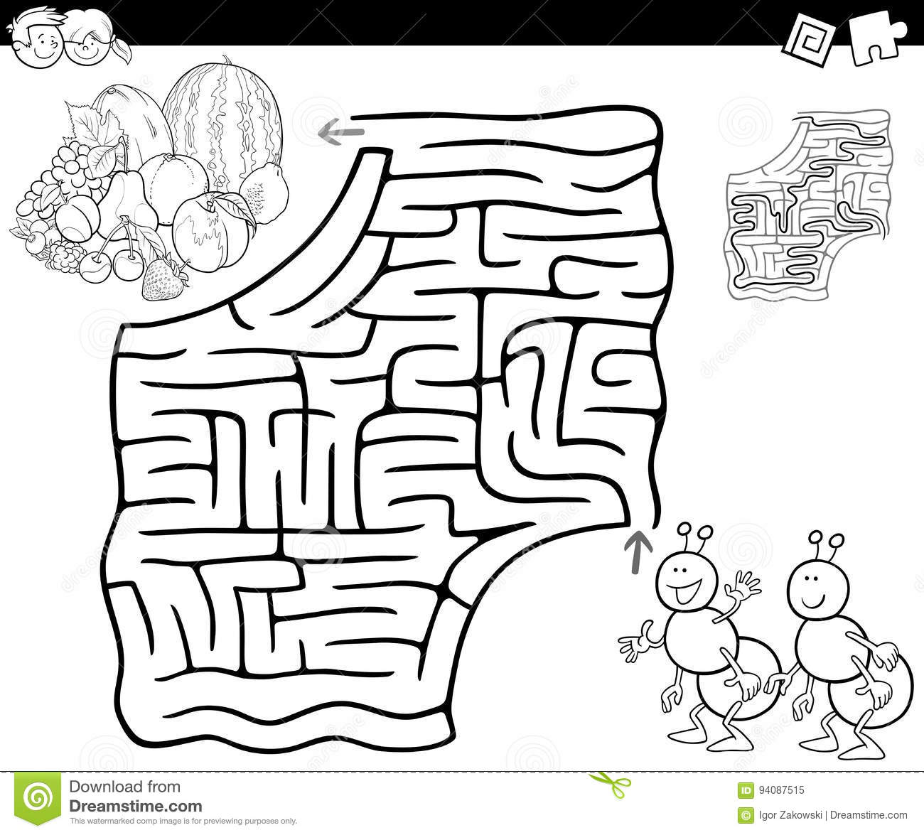 Maze With Ants And Fruits For Coloring Stock Vector