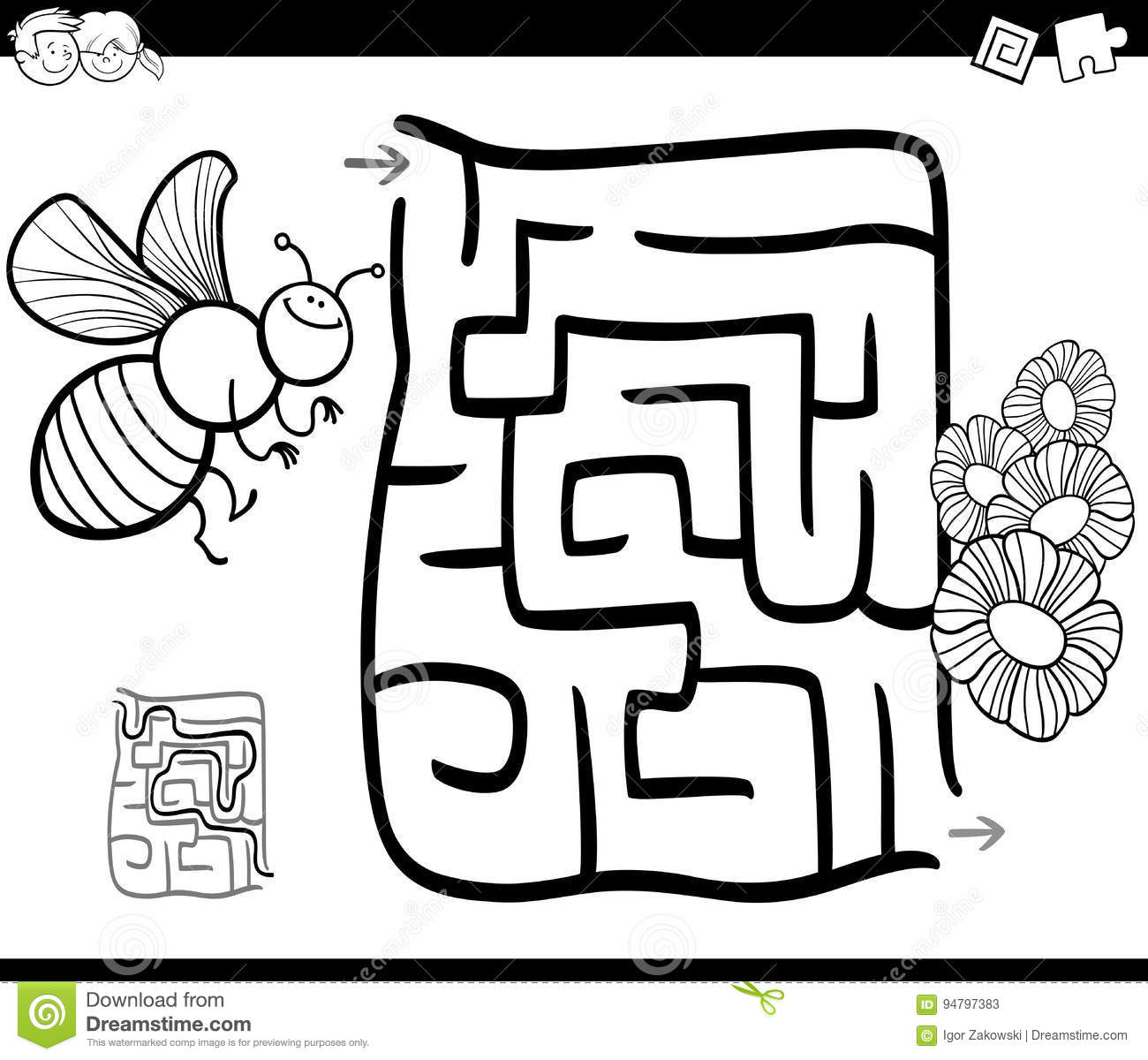 Maze With Bee Coloring Page Stock Vector