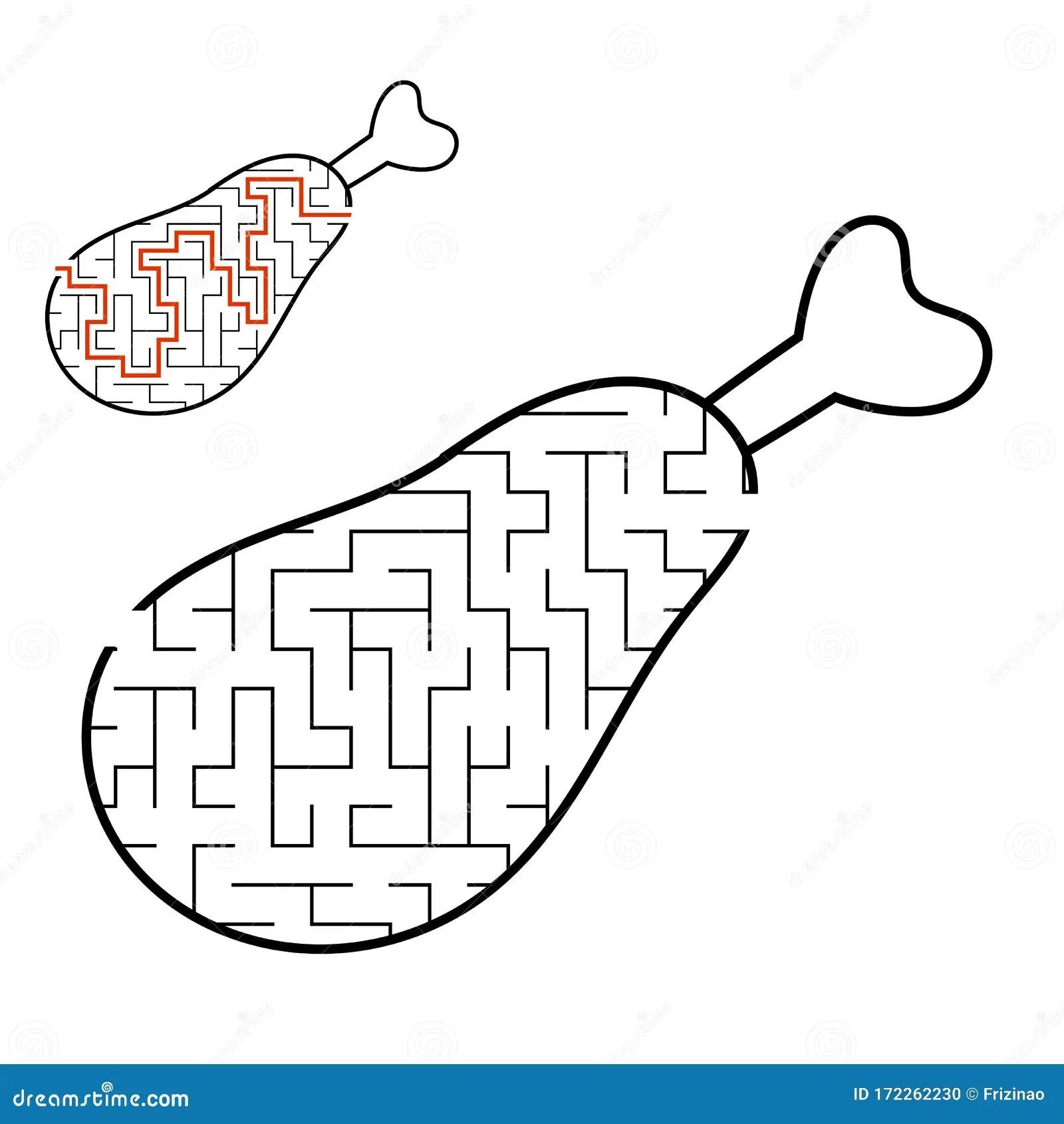 Maze Chicken Leg Game For Kids Puzzle For Children