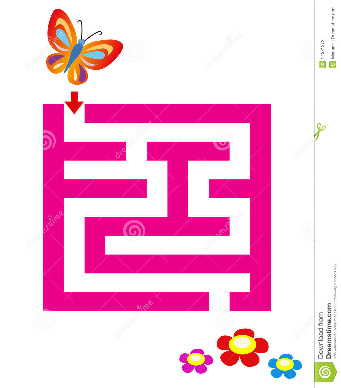 Maze For Children With Butterfly Amp Flowers Stock