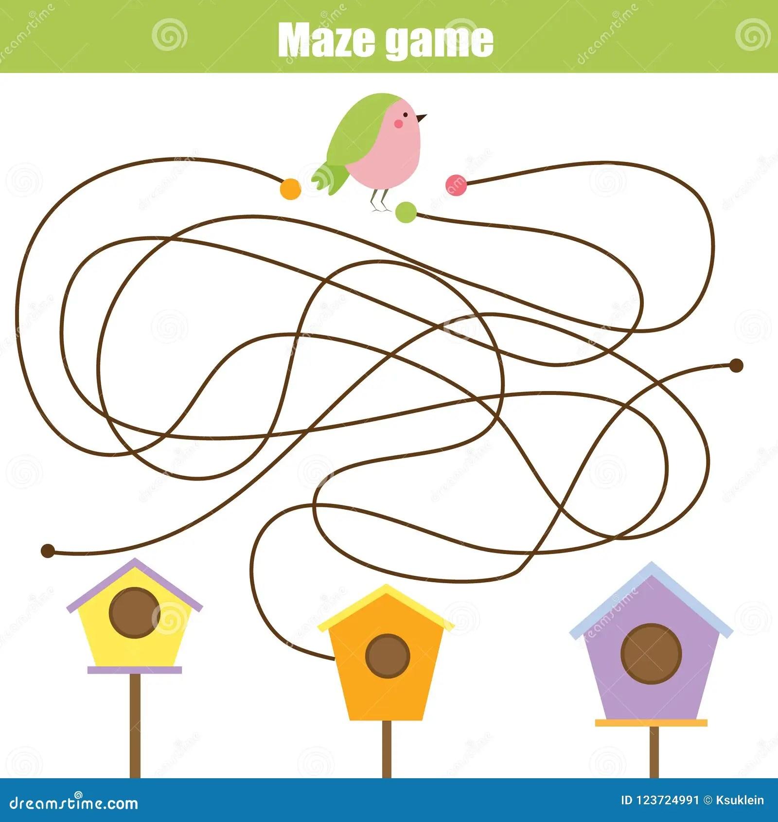 Maze Game Animals Theme Help Bird Find Birdhouse