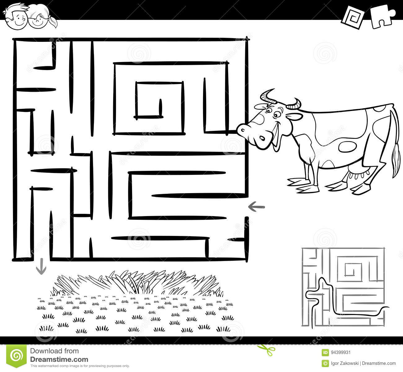 Maze with cow for coloring stock vector. Illustration of