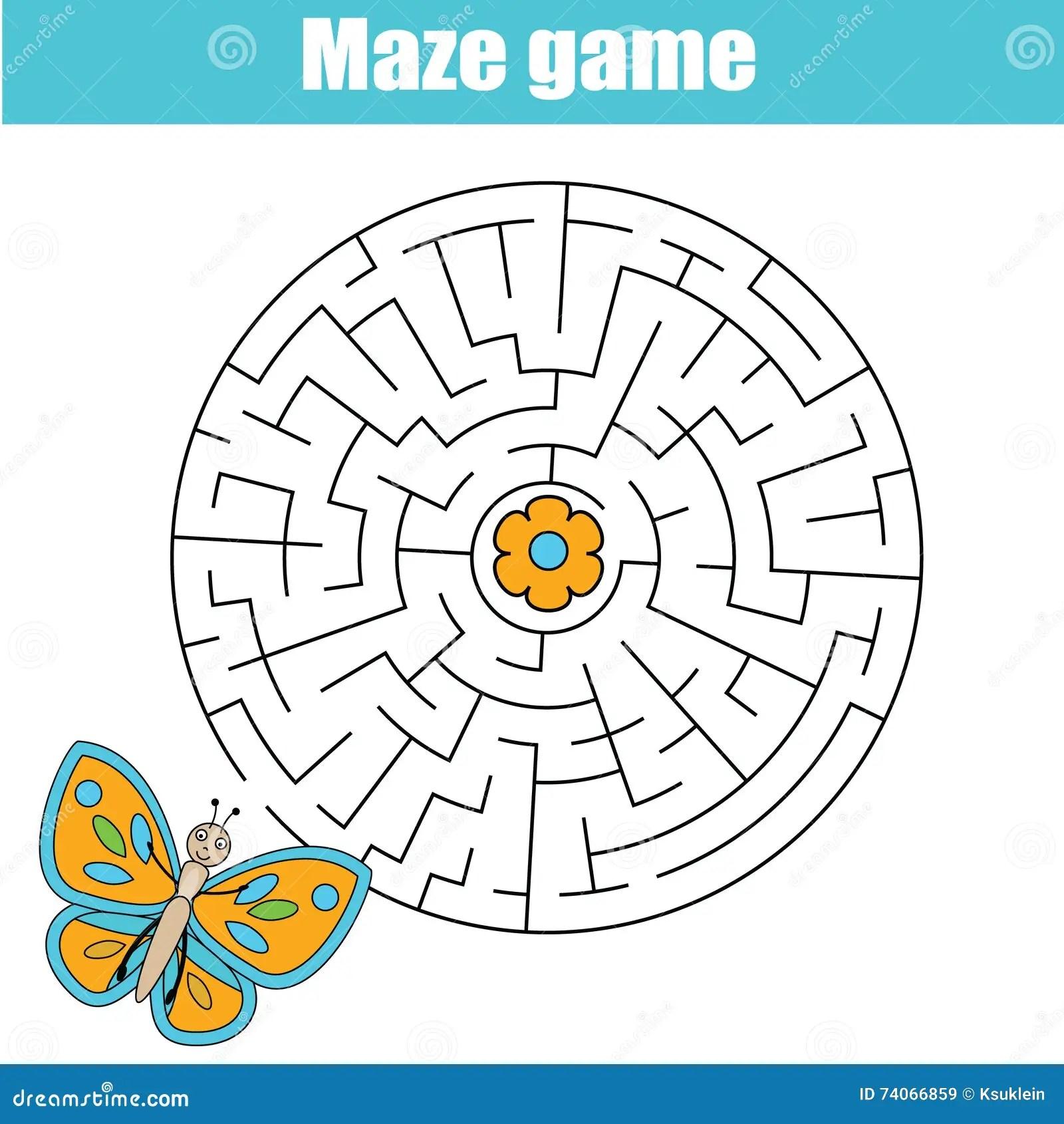 Maze Game Animals Theme Kids Activity Sheet Stock Vector