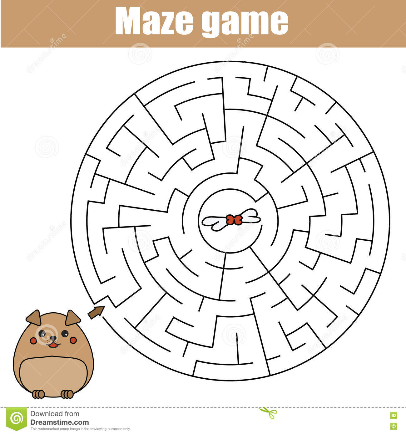 Maze Game Animals Theme Kids Activity Sheet Stock Vector