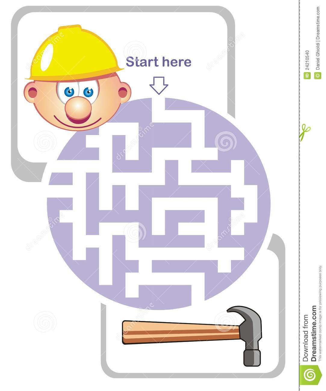 Maze Game Builder And Hammer Stock Vector