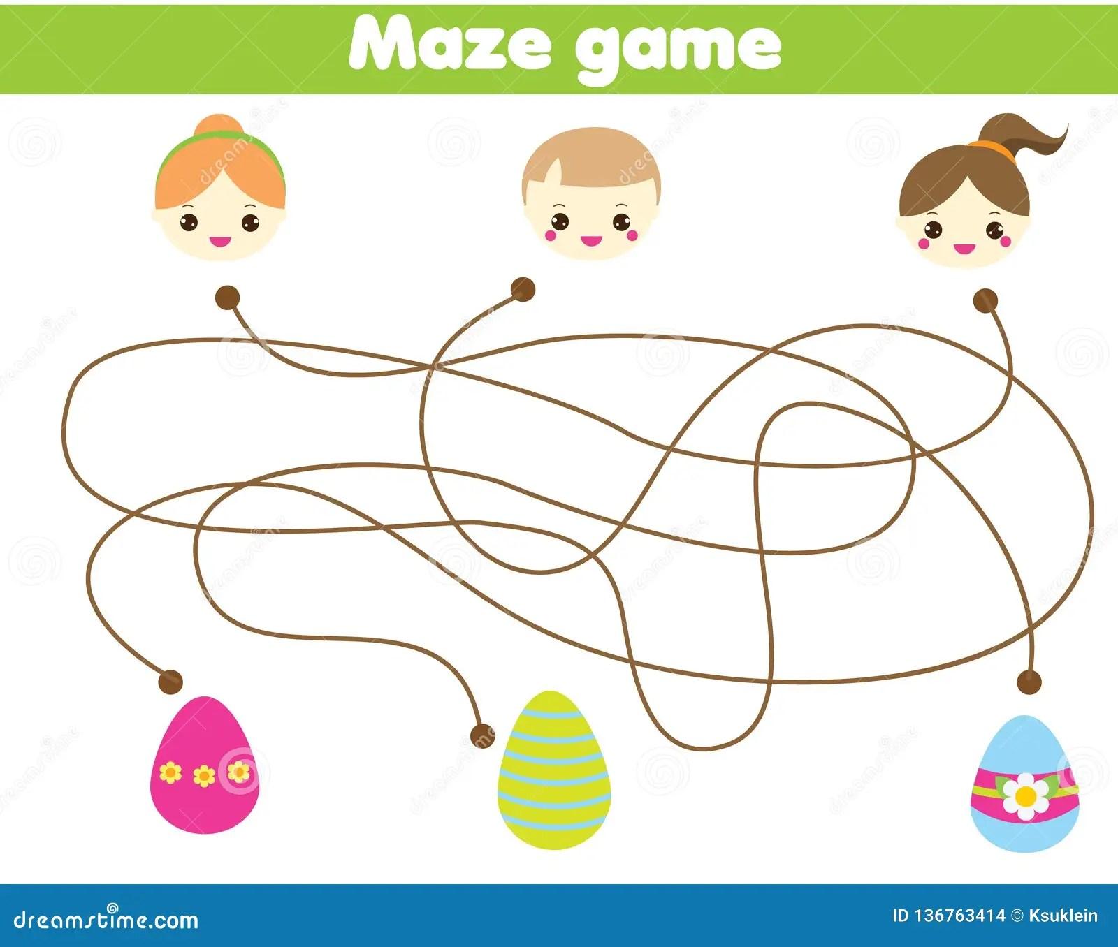 Maze Game For Children Easter Egg Hunt Activity Help
