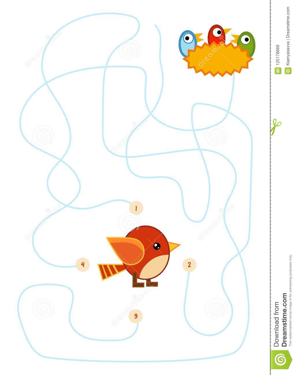 Maze Game For Children Bird And Nest With Chicks Stock
