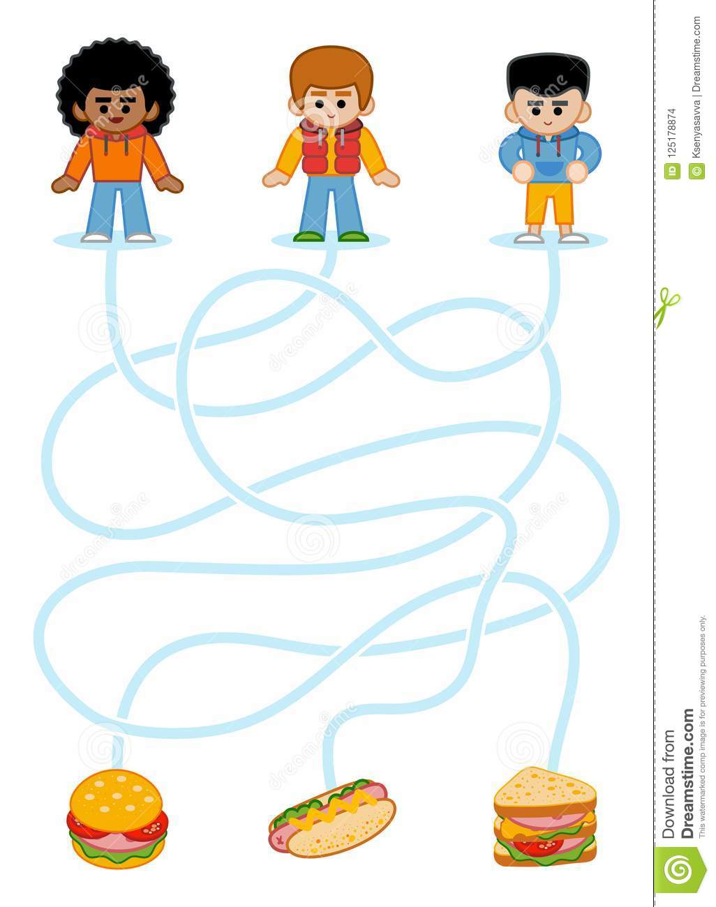 Maze Game For Children Boys And Fastfood Stock Vector