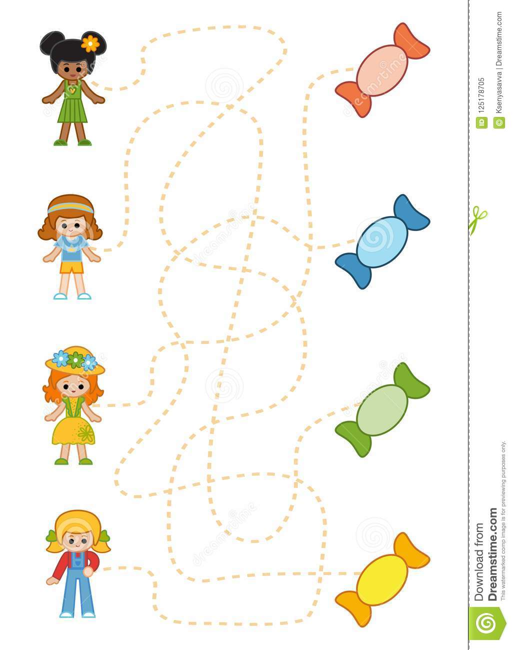 Maze Game For Children Girls And Sweets Stock Vector