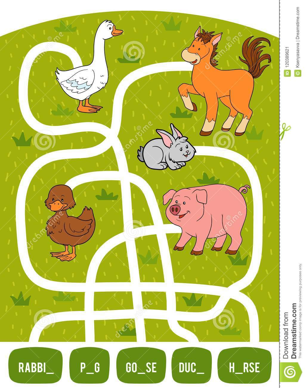 Maze Game For Children Rabbit Duck Pig Goose And Horse