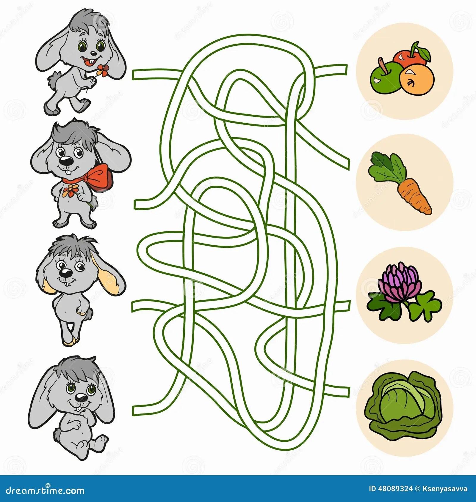 Maze Game For Children Rabbits Stock Vector