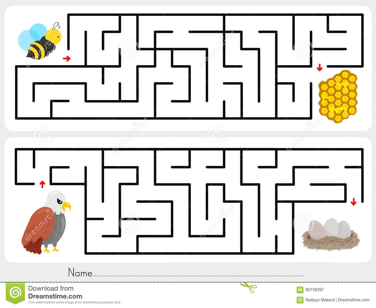 Maze Game Help The Bee To Find The Honeycomb And Help The