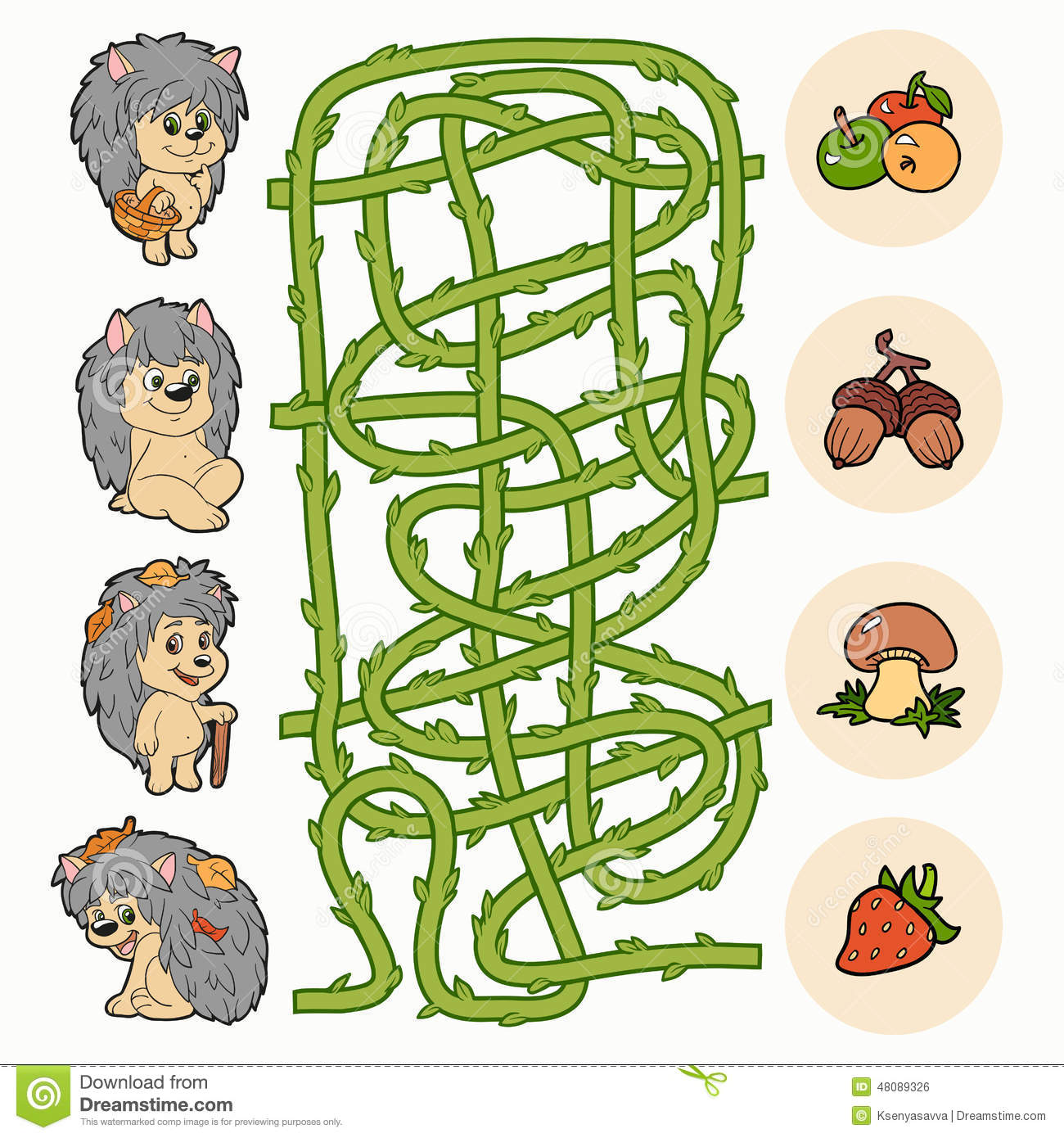Maze Game Help Hedgehogs To Find Food Stock Vector