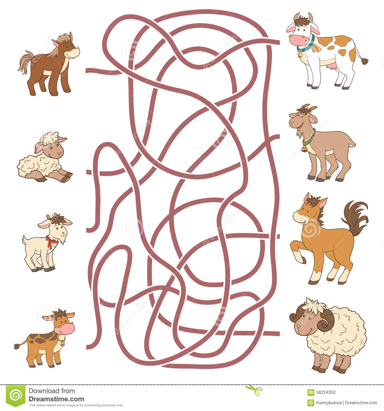 Maze Game Help The Young Find Their Parents Farm Animals Stock Vector