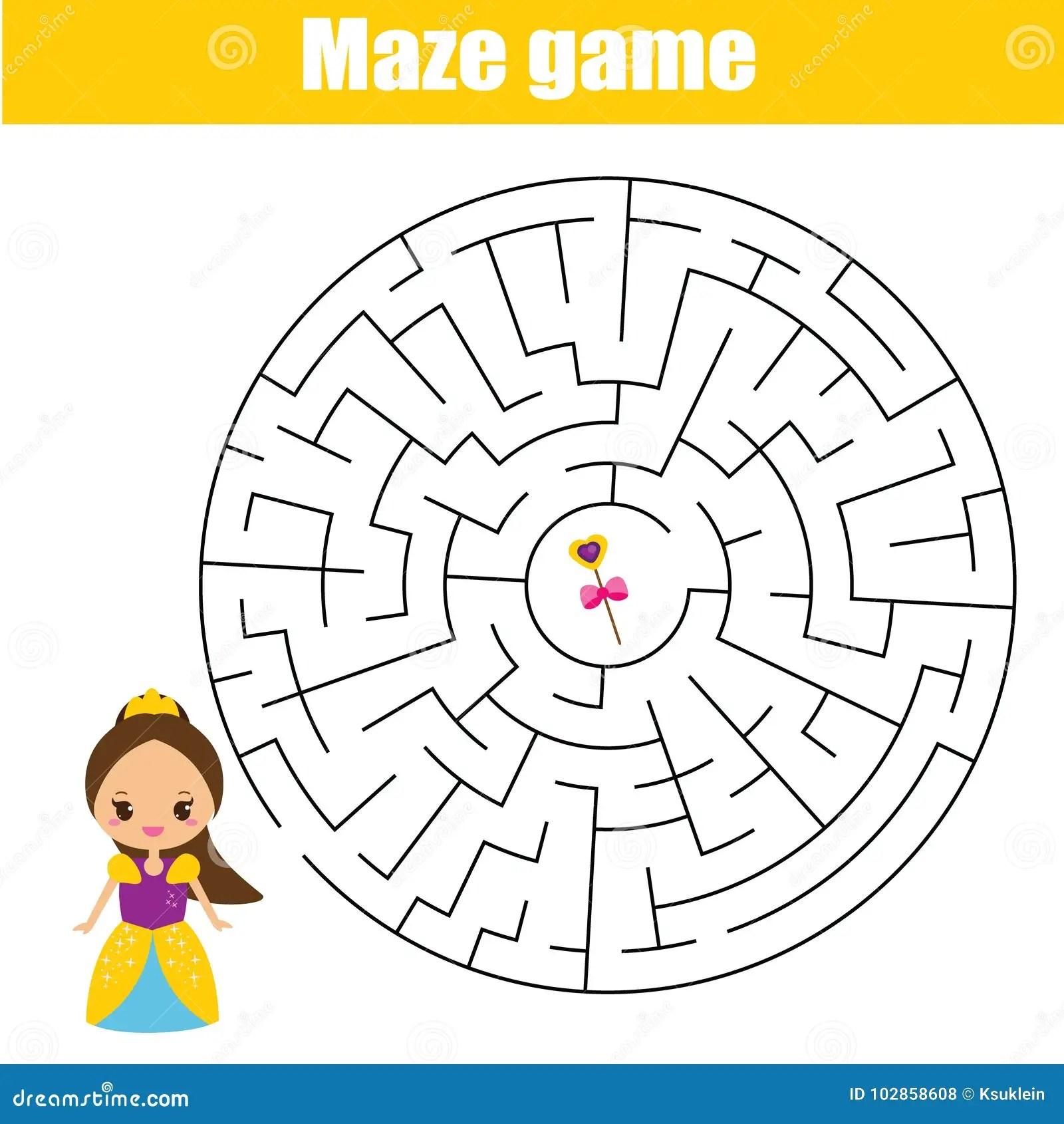 Maze Game Kids Activity Sheet With Cute Princess Stock