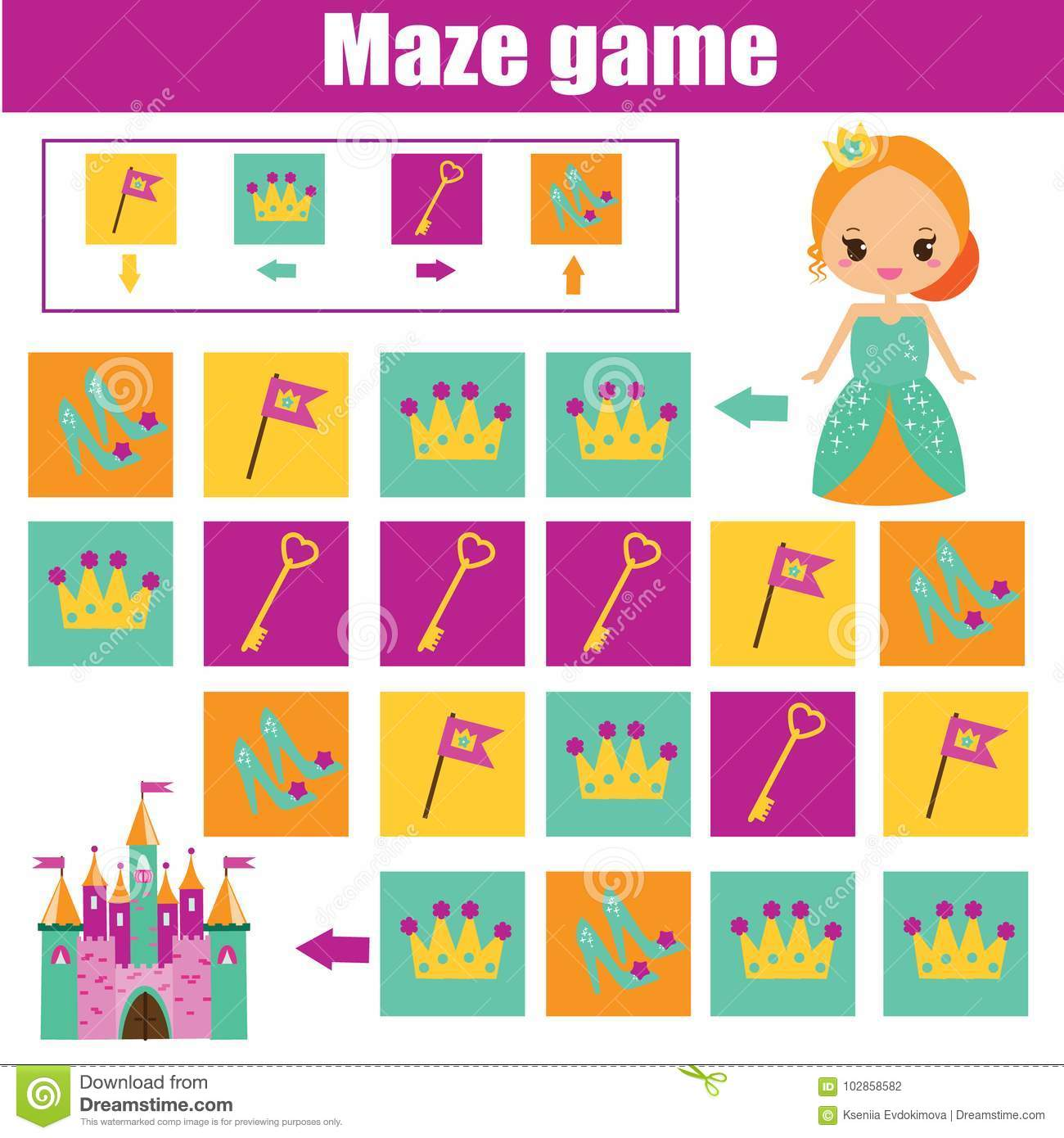 Maze Game Kids Activity Sheet Logic Labyrinth With Code