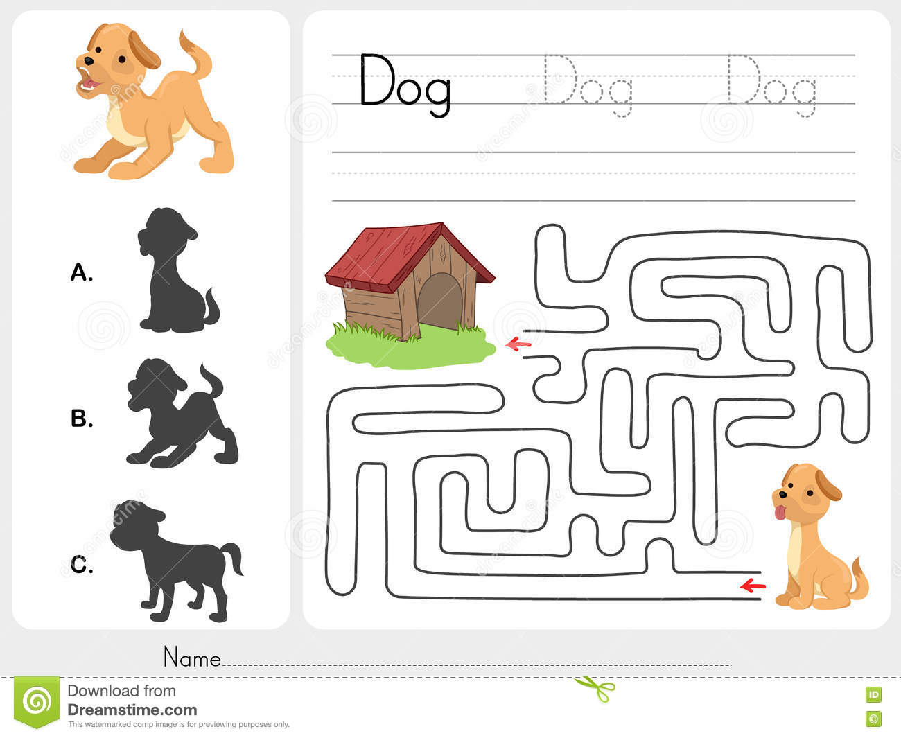 Maze Game And Match Dog With Shadow Stock Vector