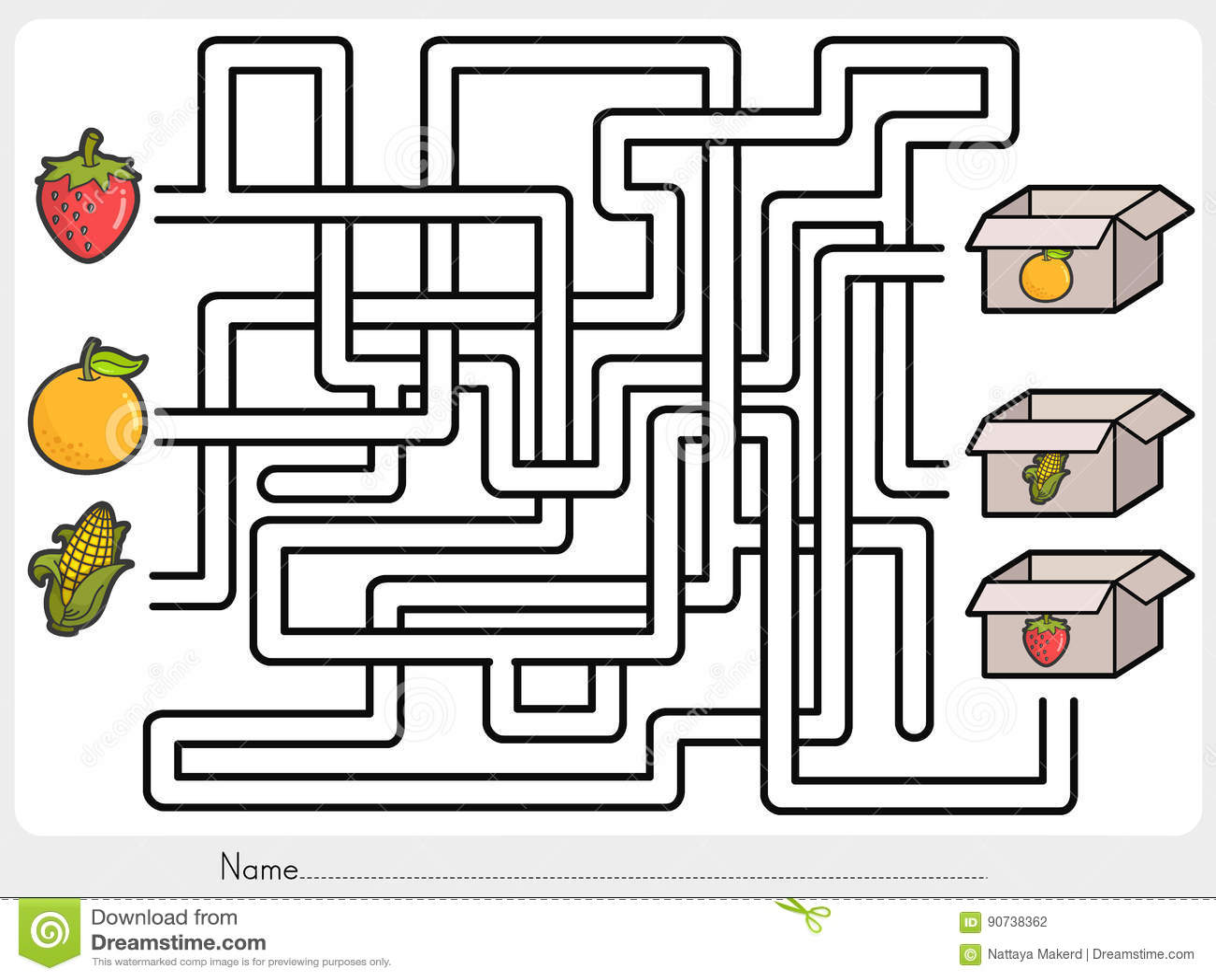 Maze Game Pick Fruits Box
