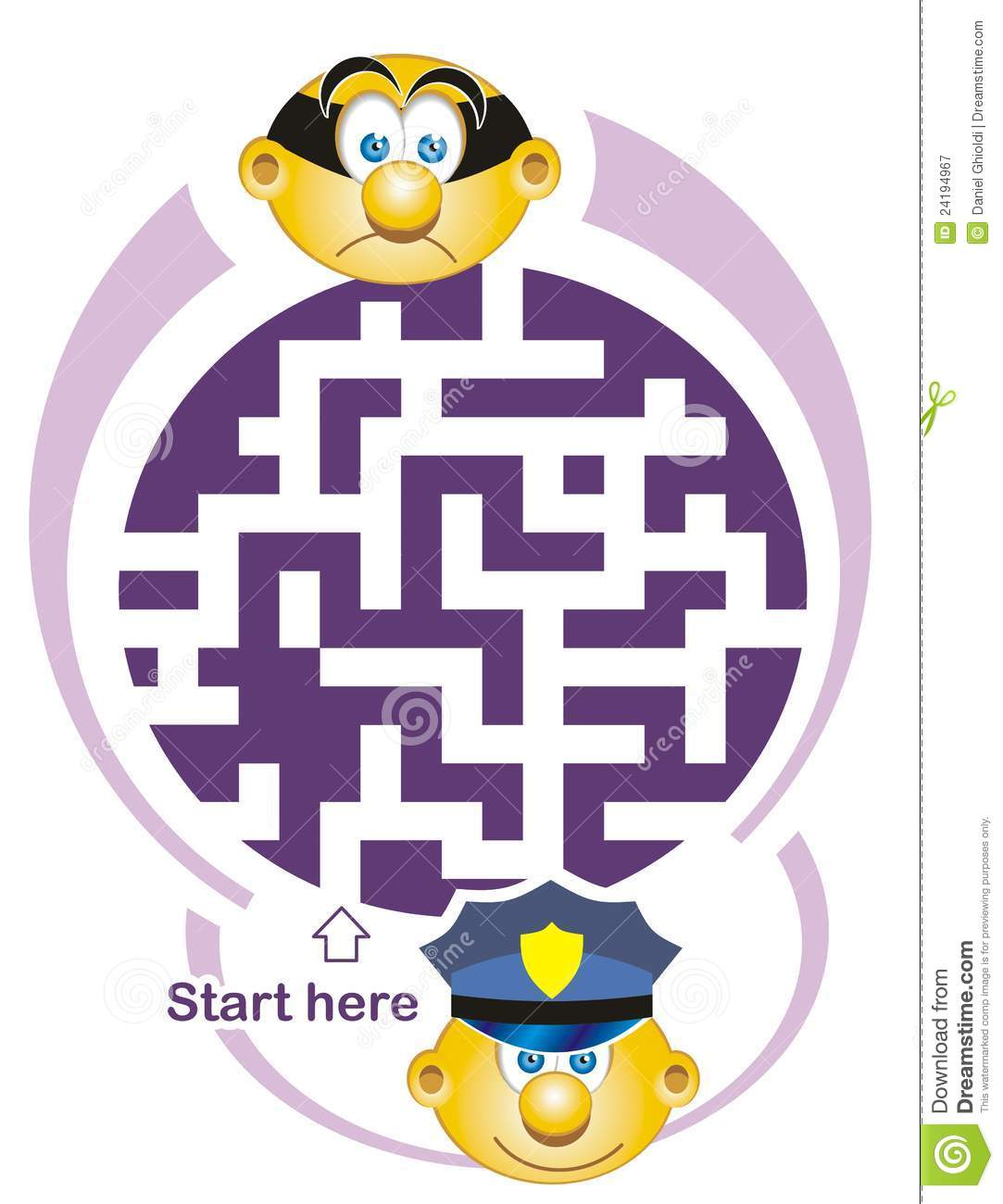 Maze Game Policeman And Thief Royalty Free Stock