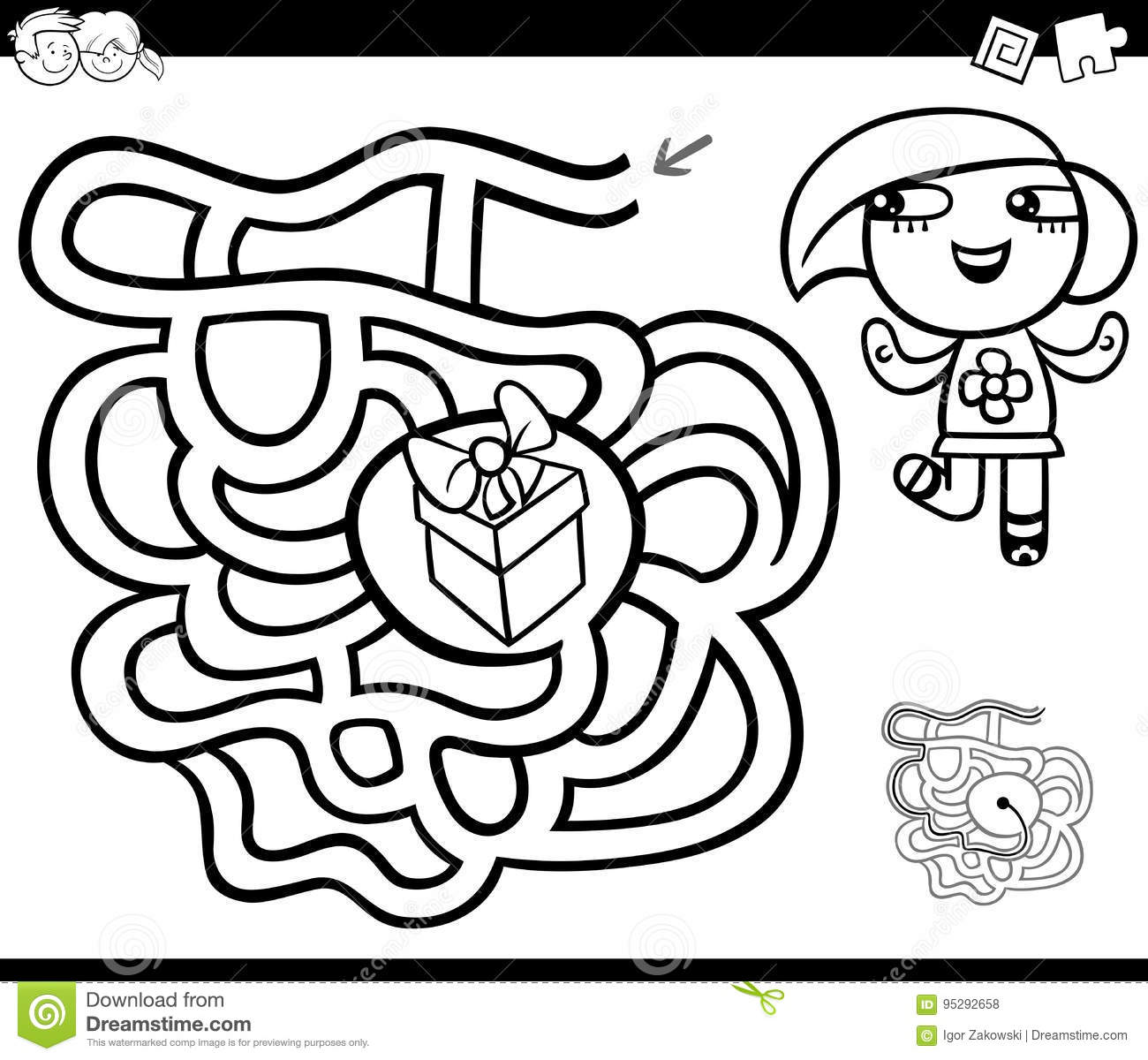 Maze With Girl And Gift Coloring Page Stock Vector