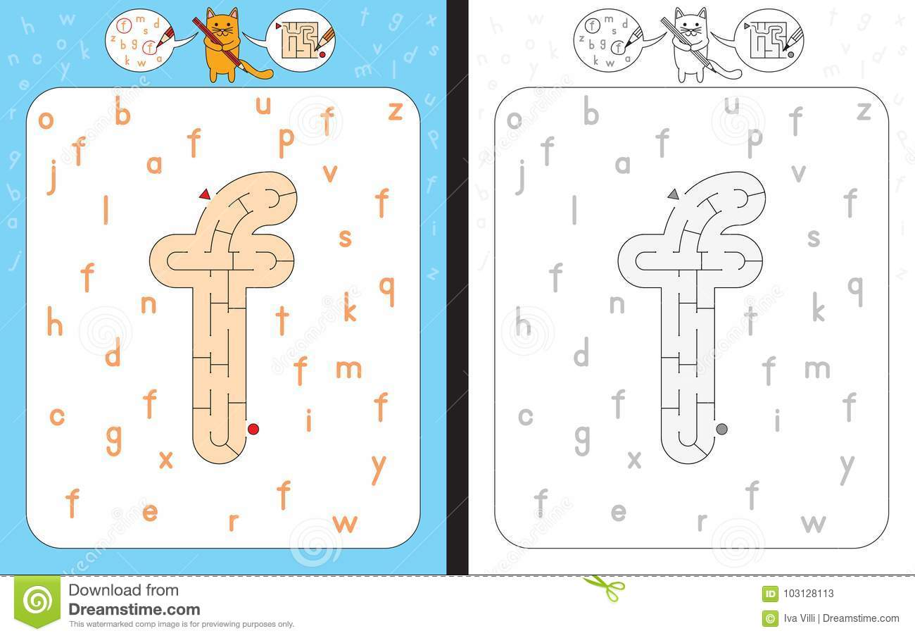 Maze Letter F Stock Vector Illustration Of Tracing