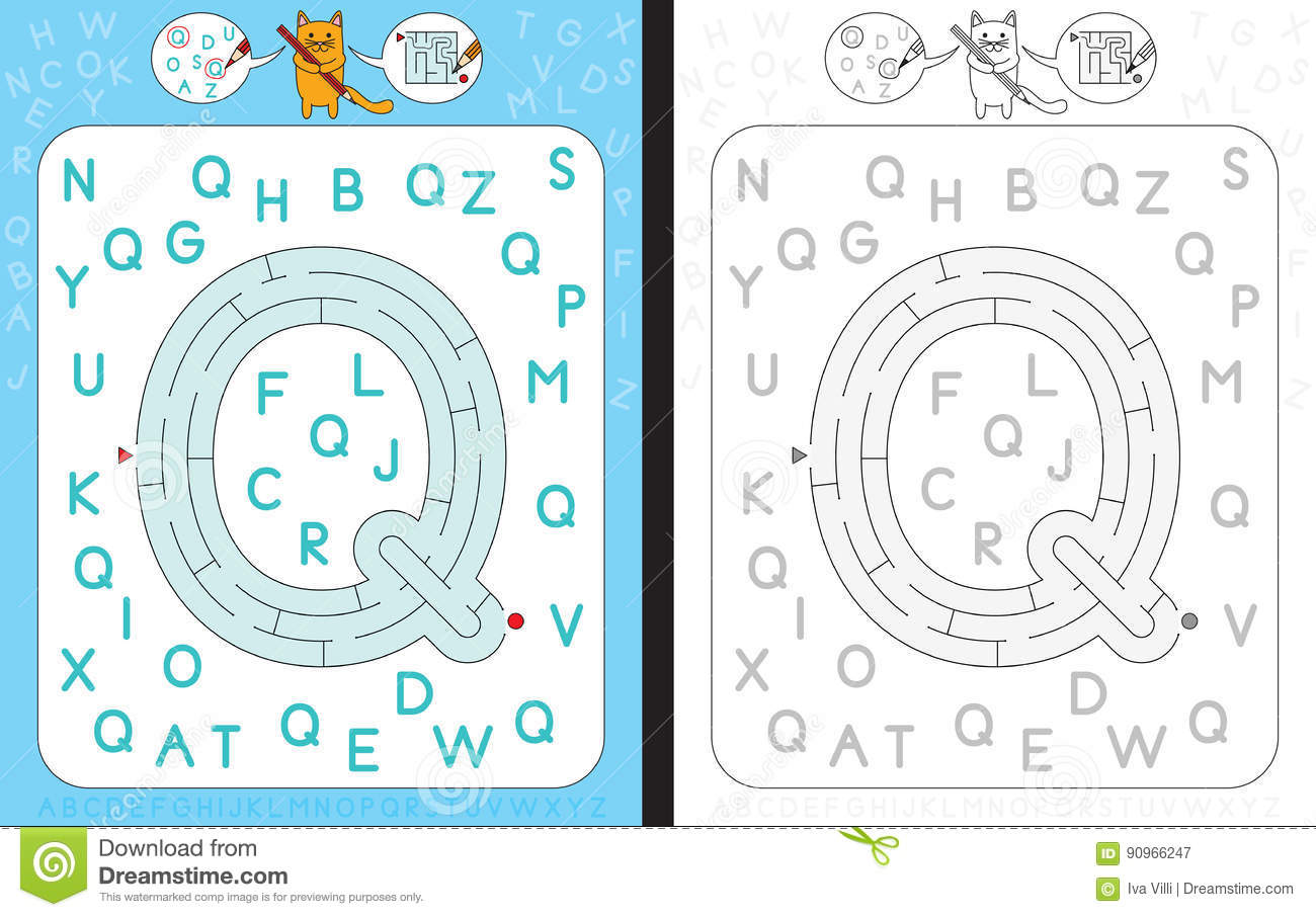 Maze Letter Q Stock Vector Illustration Of Practice