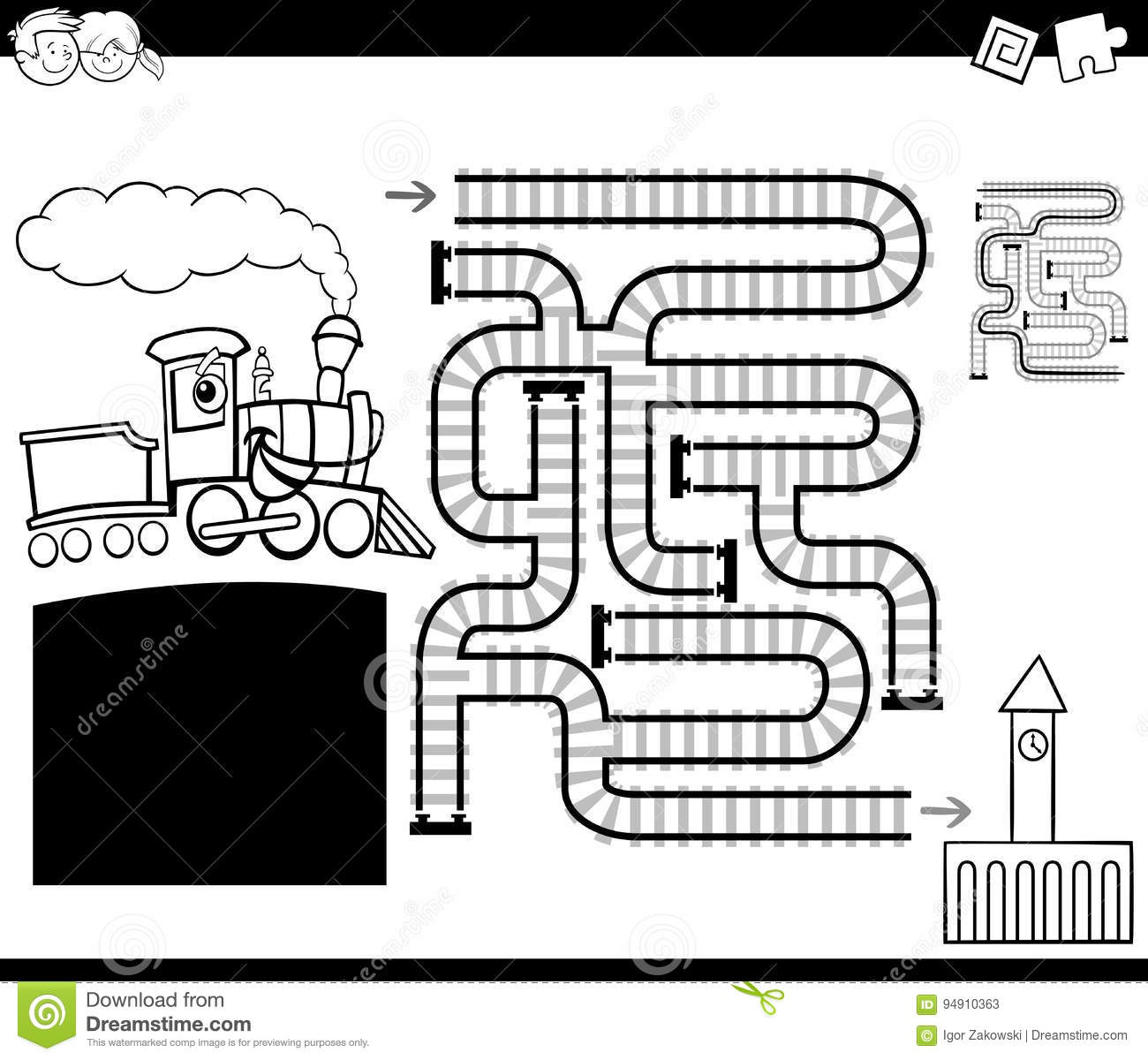 Maze With Locomotive Coloring Page Stock Vector