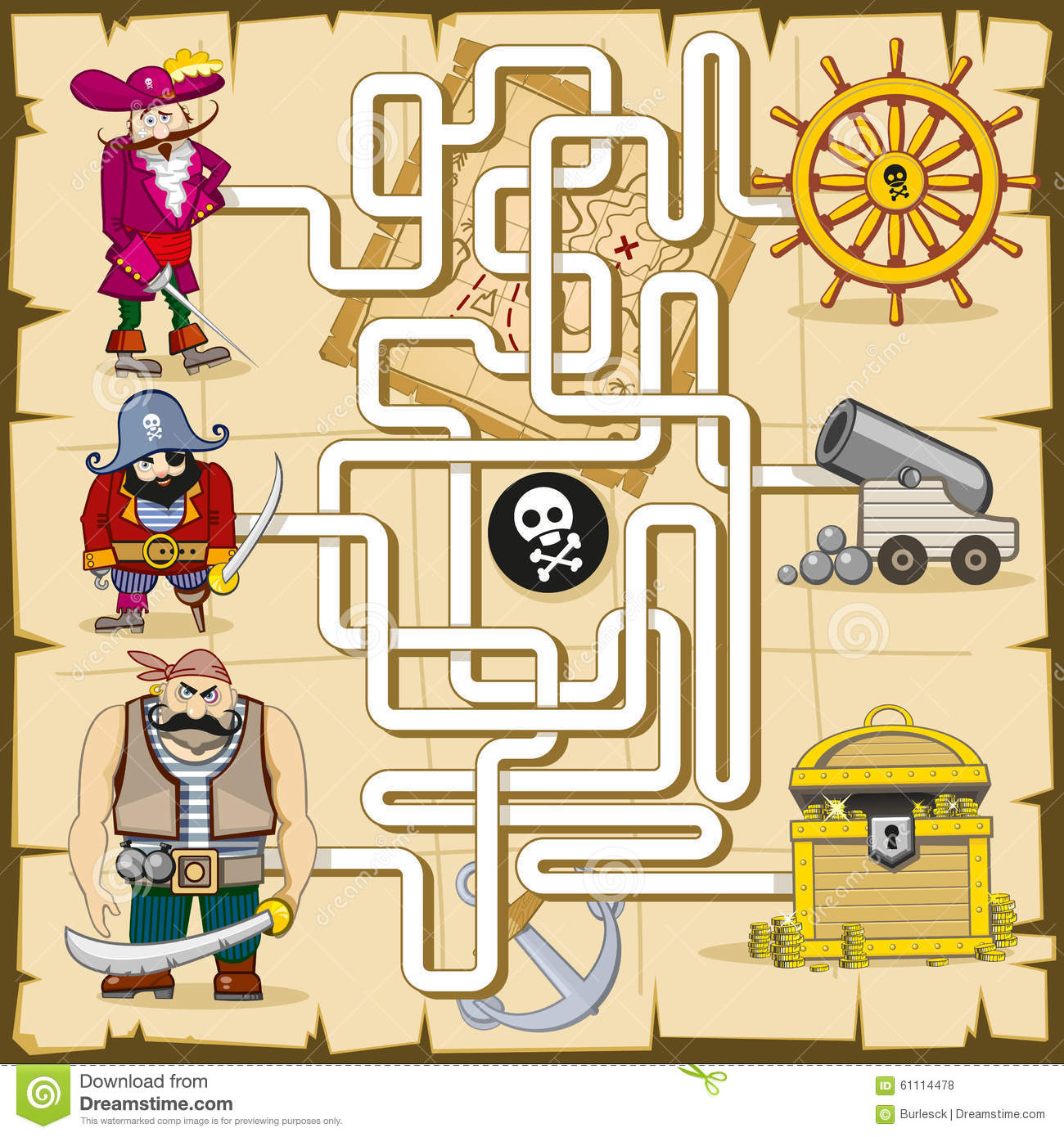 Maze With Pirates Vector Game For Kids Stock Vector