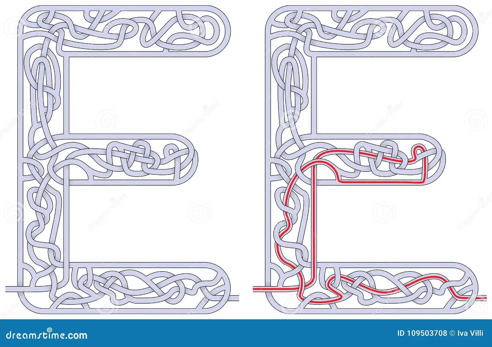 Maze Letter E Stock Vector Illustration Of Fine Alphabet