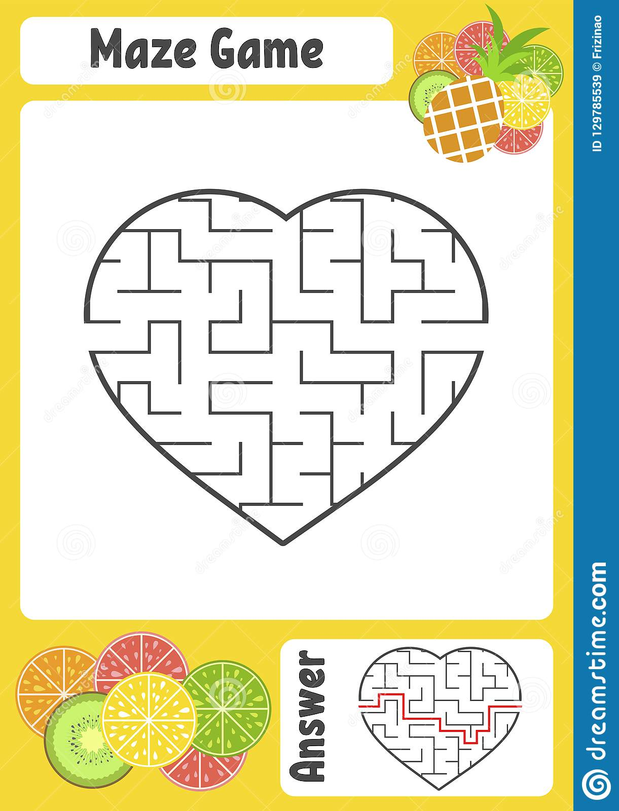 Maze In The Shape Of A Heart Kids Worksheets Activity