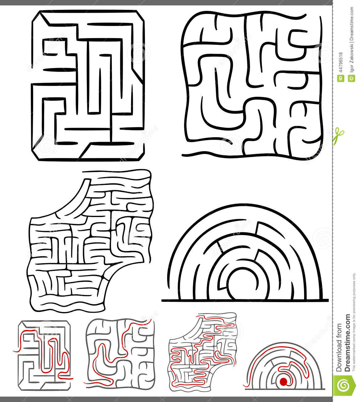 Mazes Or Labyrinths Diagrams Set Stock Vector