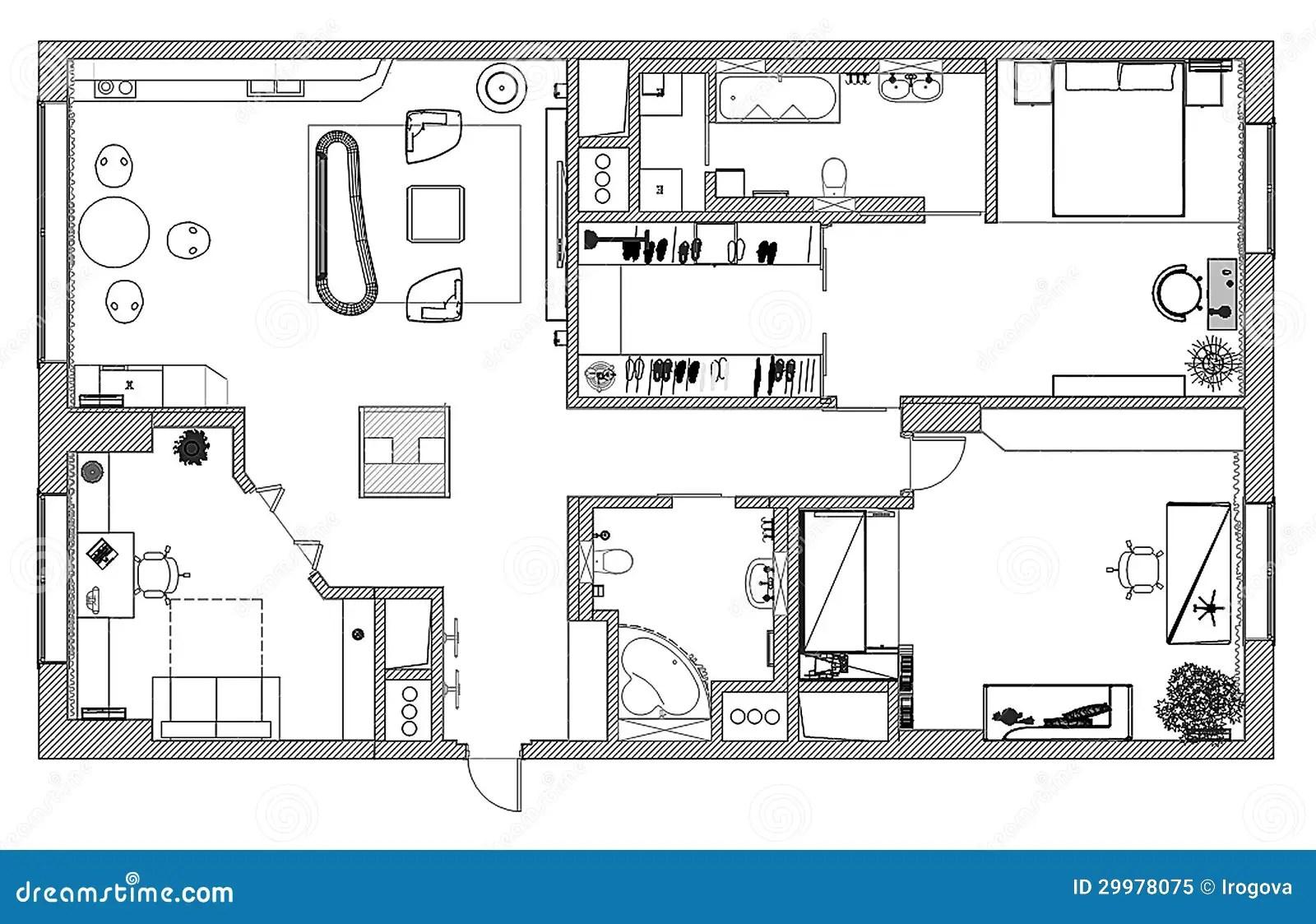 Mobel Sind Auf Architektenplan Lizenzfreies Stockfoto