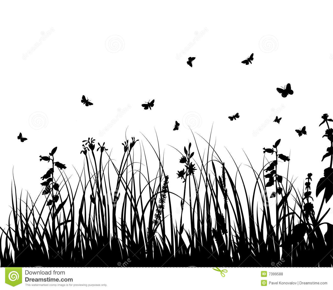 Meadows Plant Silhouette Stock Vector Illustration Of