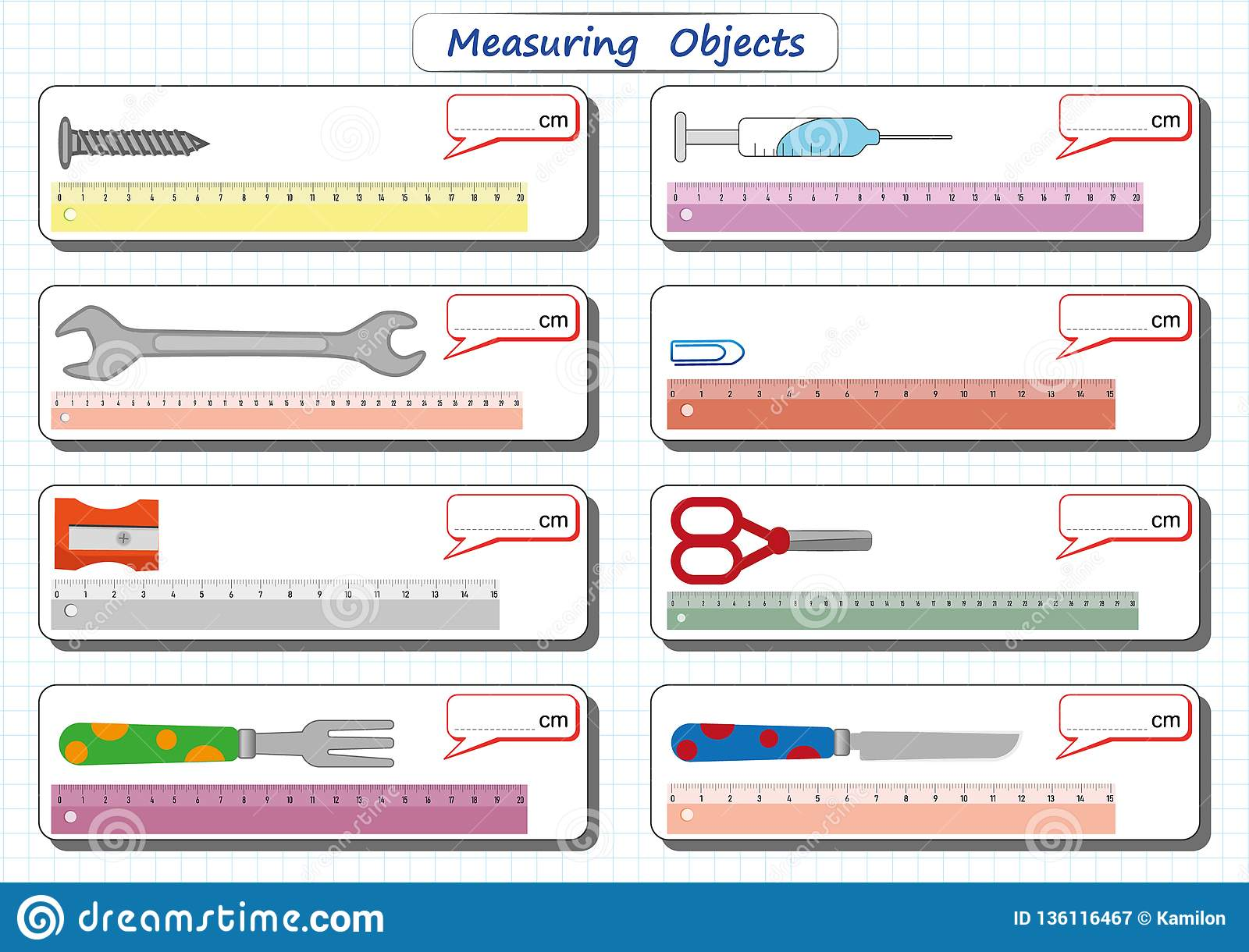 Measuring Length Of The Objects With Ruler Worksheet For Children Practice Sheets Mathematics