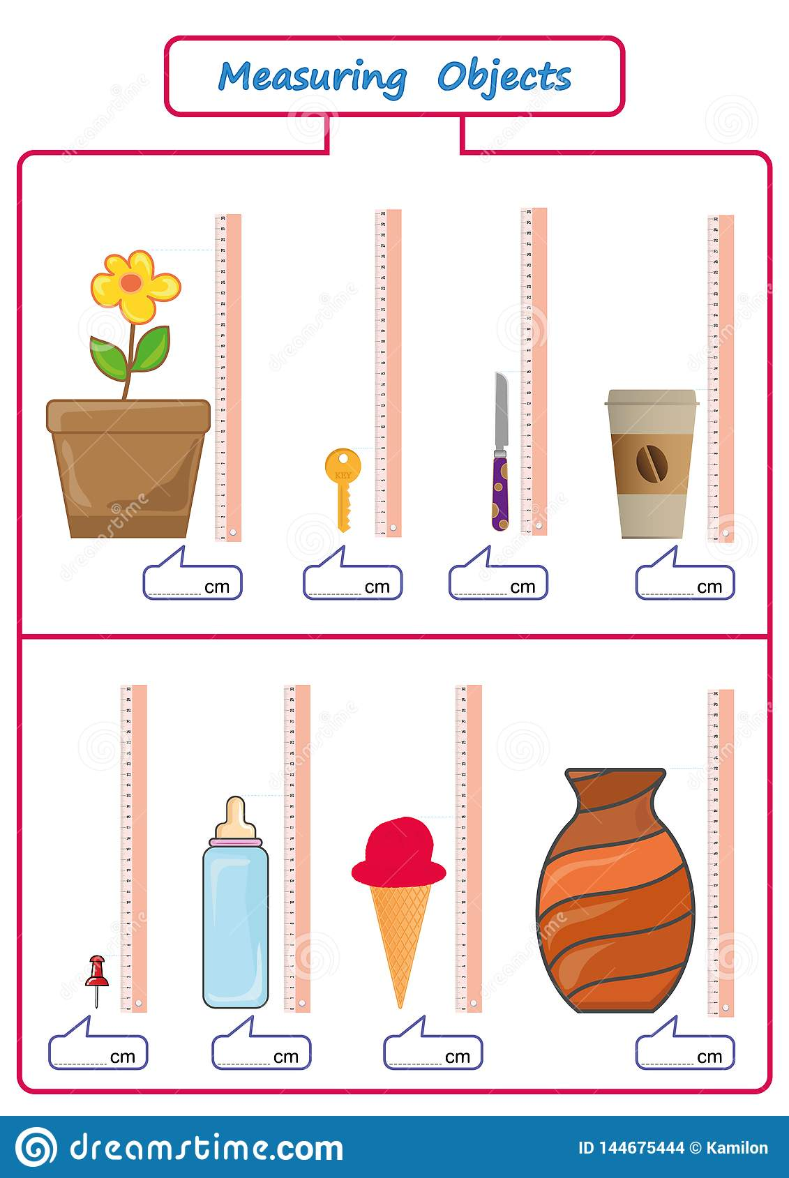 Measuring Length Of The Objects With Ruler Worksheet For