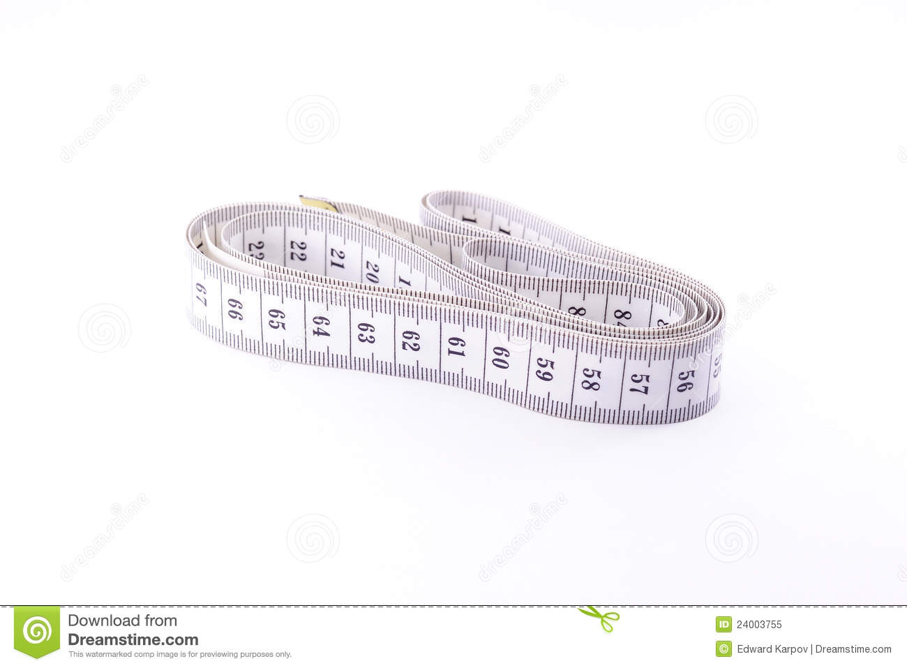 Measuring tape stock image. Image of isolated, instrument