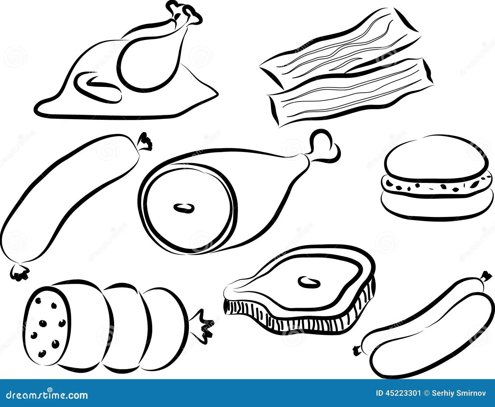 Meat Doodle Stock Vector Illustration Of Steak Sausage