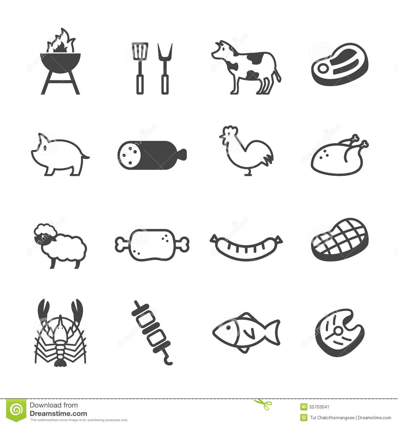 Meat And Grill Icons Stock Vector Image Of Food Lobster