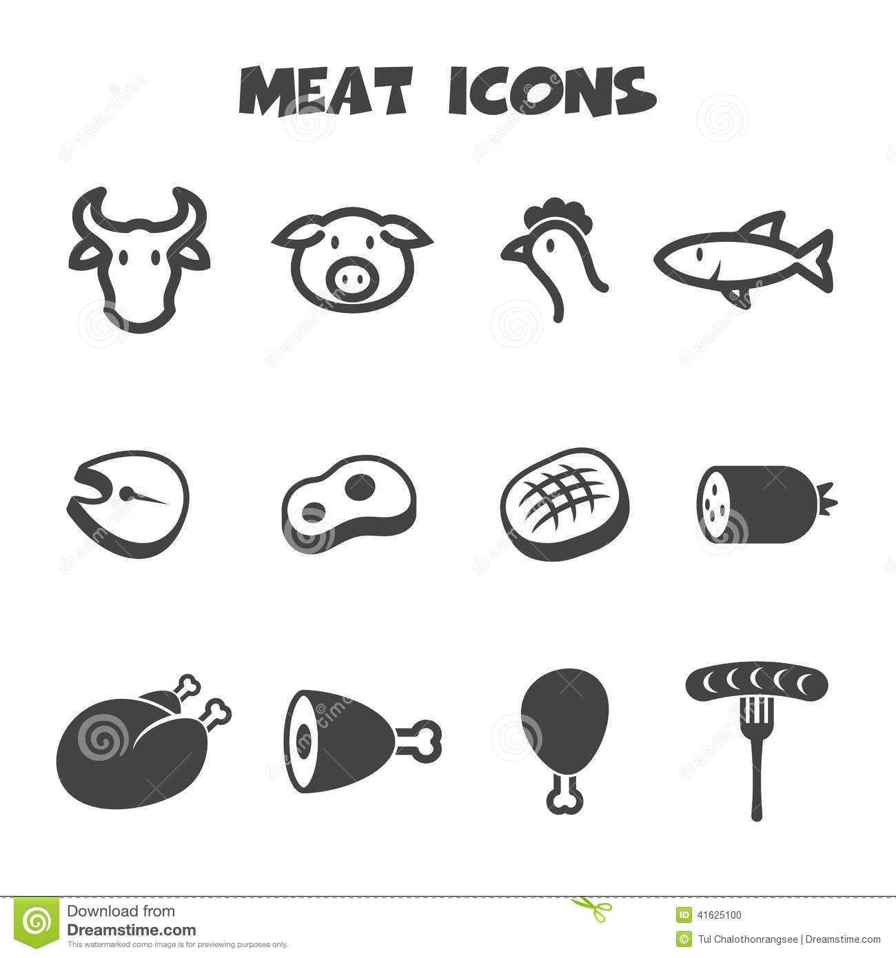 Meat Icons Stock Vector Illustration Of Main Food Icons