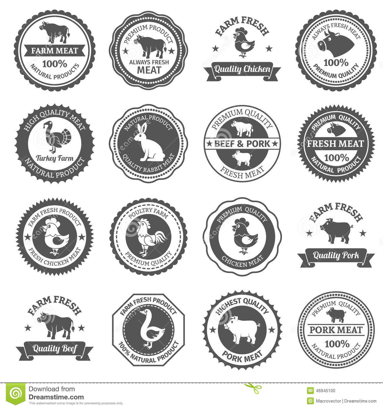 Meat Labels Set Stock Vector